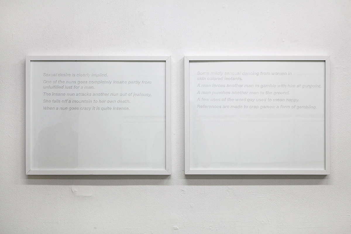 """Black Narcissus (left)  and  Guys and Dolls (right), Synopsis  series,2015, 16""""x20"""" graphite on paper."""