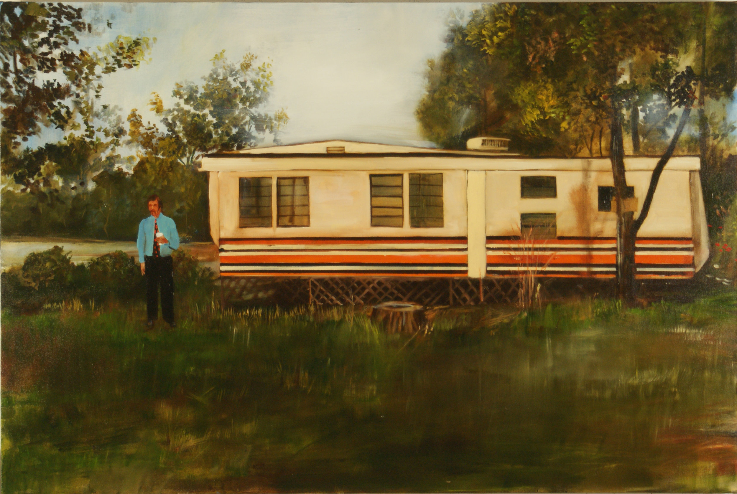"Trailer with Orange Stripes,  2011, 40"" x 60"", Oil on Canvas on Panel"