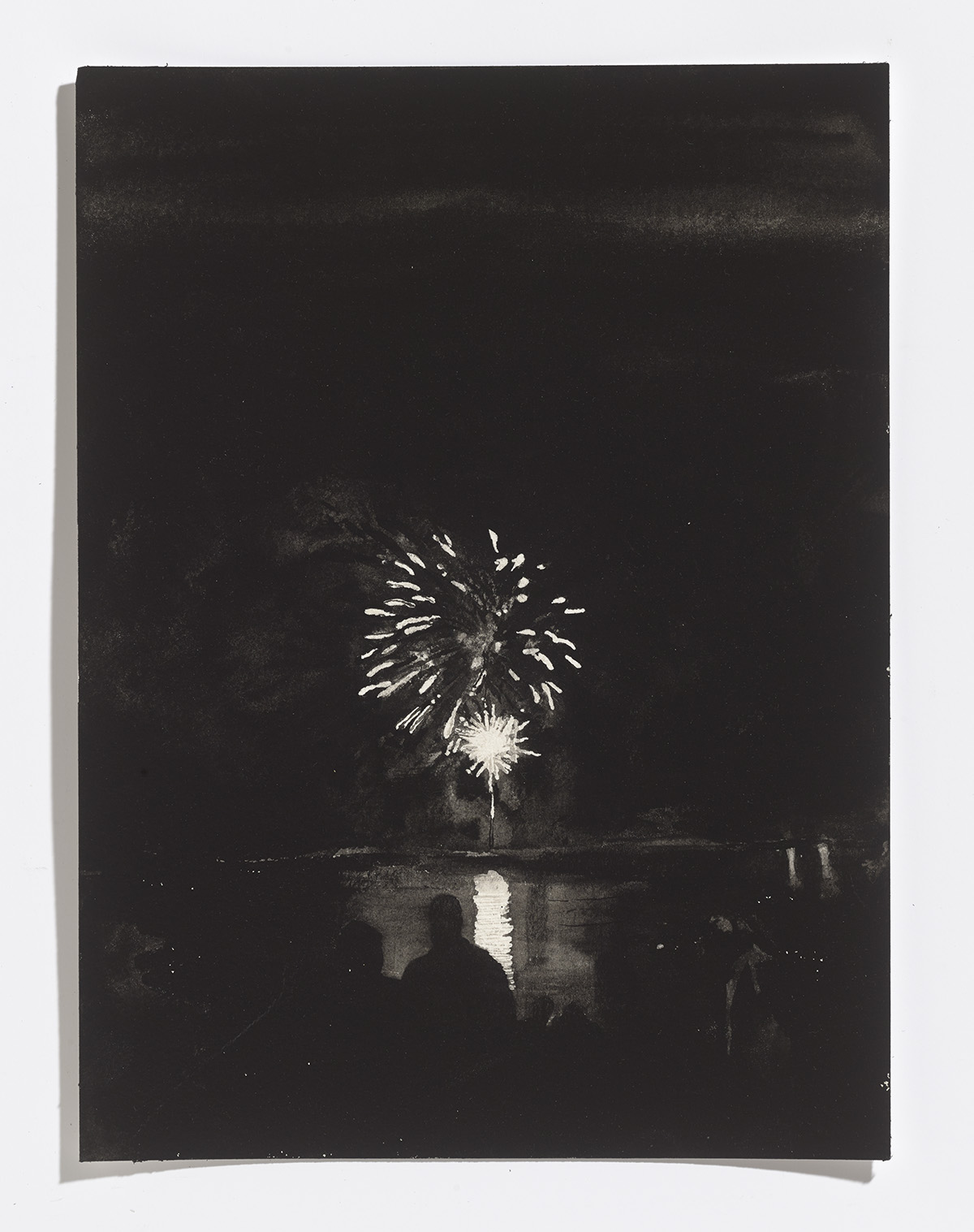 Fireworks on Little Lake, 2017, gouache on paper,12.25 x 9 in.$1200 CAD $1000 USD
