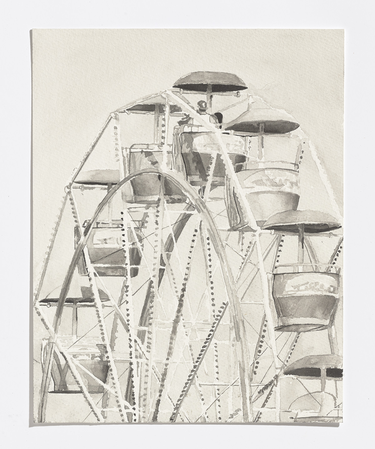 Ferris Wheel, 2017, india ink on paper, 11.25 x 8 in.$1100 CAD $900 USD