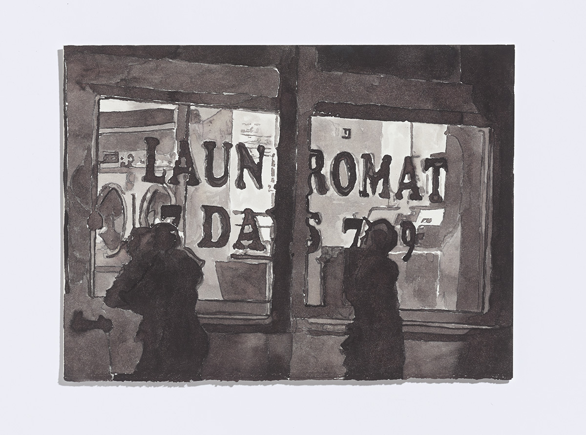 Kids (Laundromat), 2017 ,ink on paper,7-5/8th x 10 ¼ inches, ink on paper $1100 CAD $900 USD