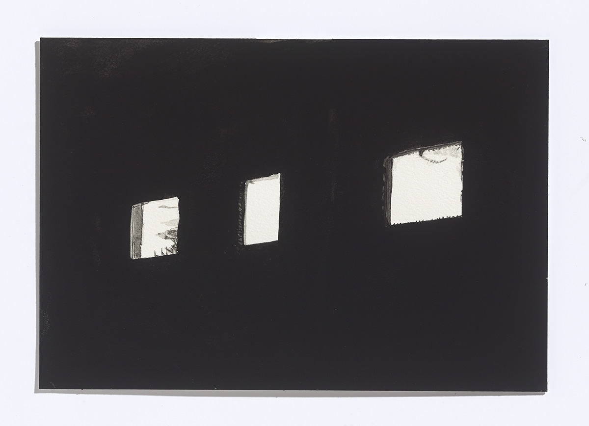 Factory windows, 2017,gouache on paper,7 1/8th x 10 ¼ inches $900 CAD $750 USD