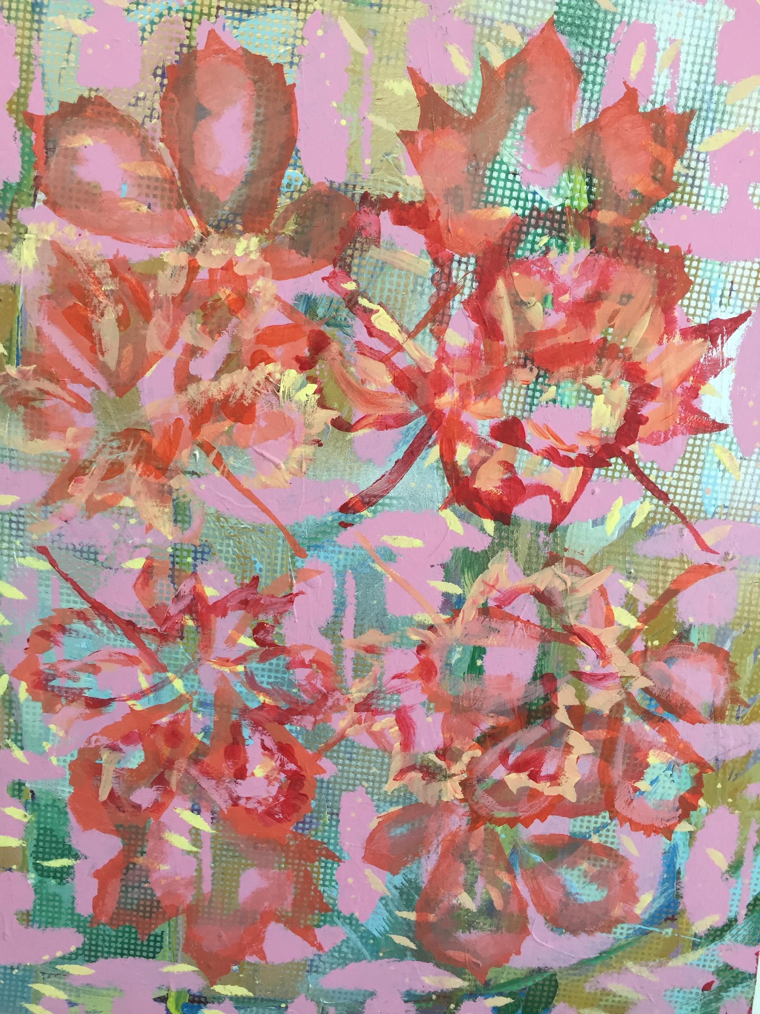 "Chestnut / Maple Alliance acrylic, spray paint, on masonite,23 1/2"" x 18"""