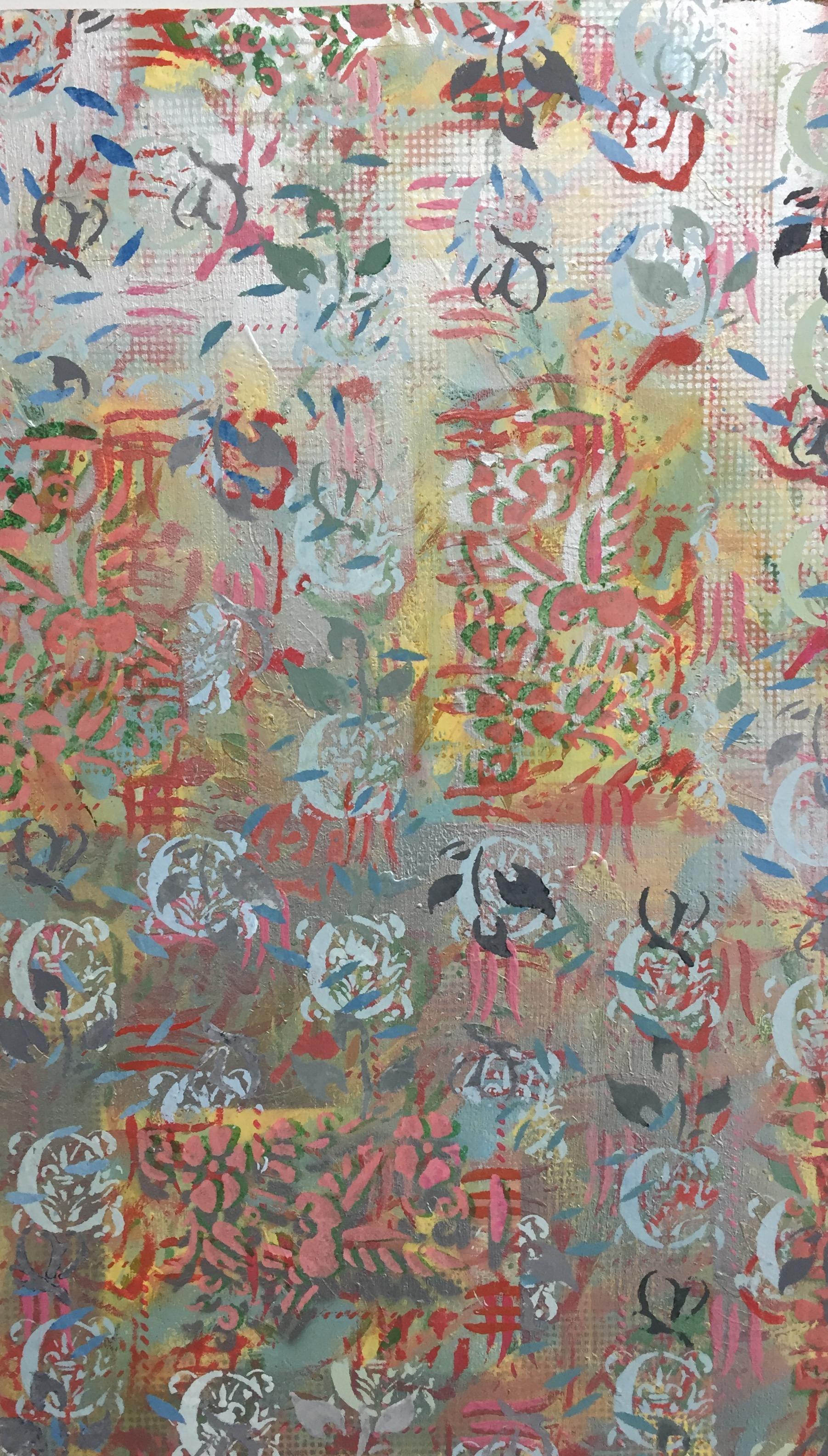 "Wallpaper ,acrylic on masonite,27 1/2"" x 12"""