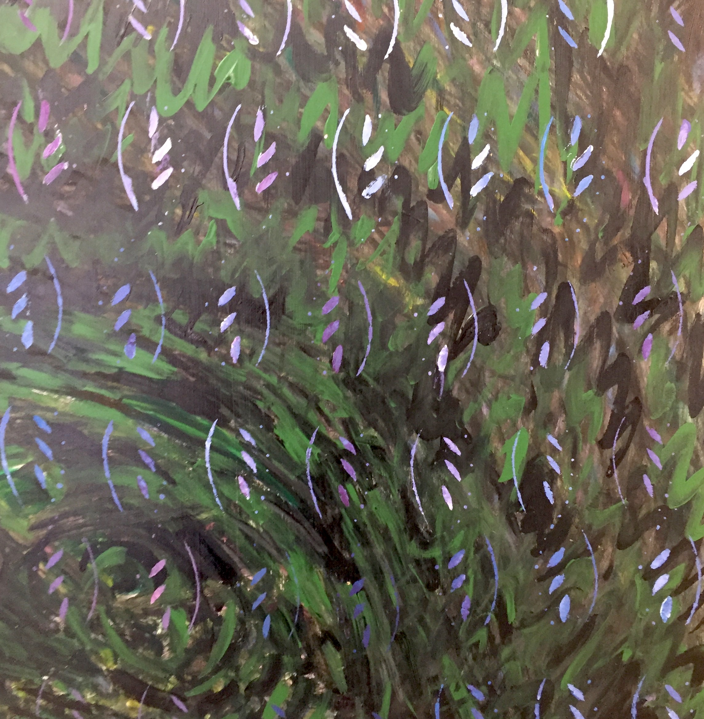"Monet-eity , 25 1/4"" x 23"", oil,acrylic on masonite"
