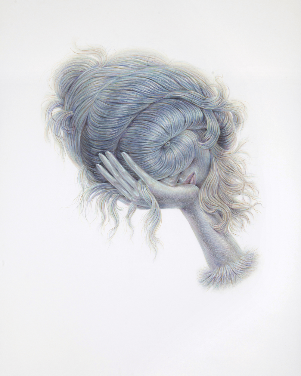 Conch Eye, 2017, colored pencil on paper, 44 x 36 inches