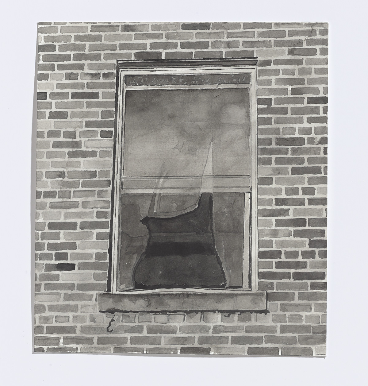 Abandoned window,2017,india ink on paper,9 1/8th x 8 in