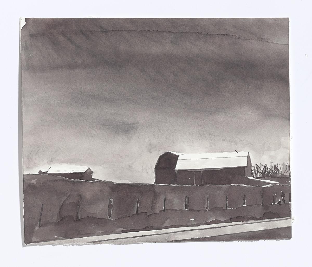 Barn on the 115,2017,ink on paper, 8 3/8th x 10 1/8th in