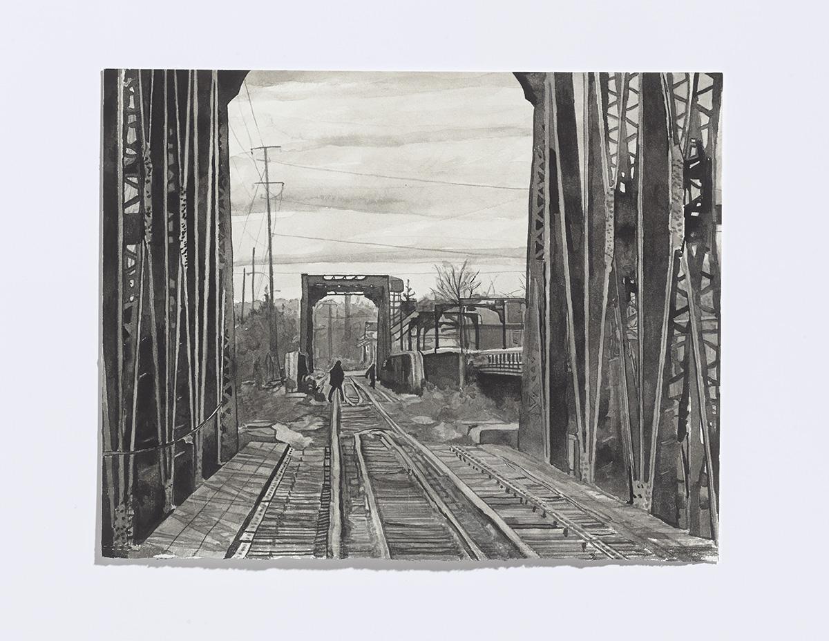 Bridge Scene, 2017,india ink on paper, 8 x 10 1/8th in