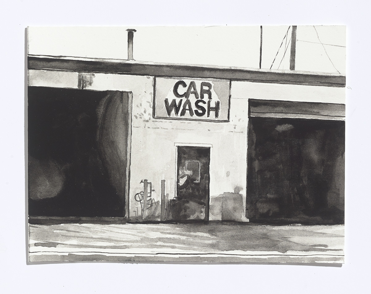 Car Wash,2017, gouache on paper, 6 x 8 in