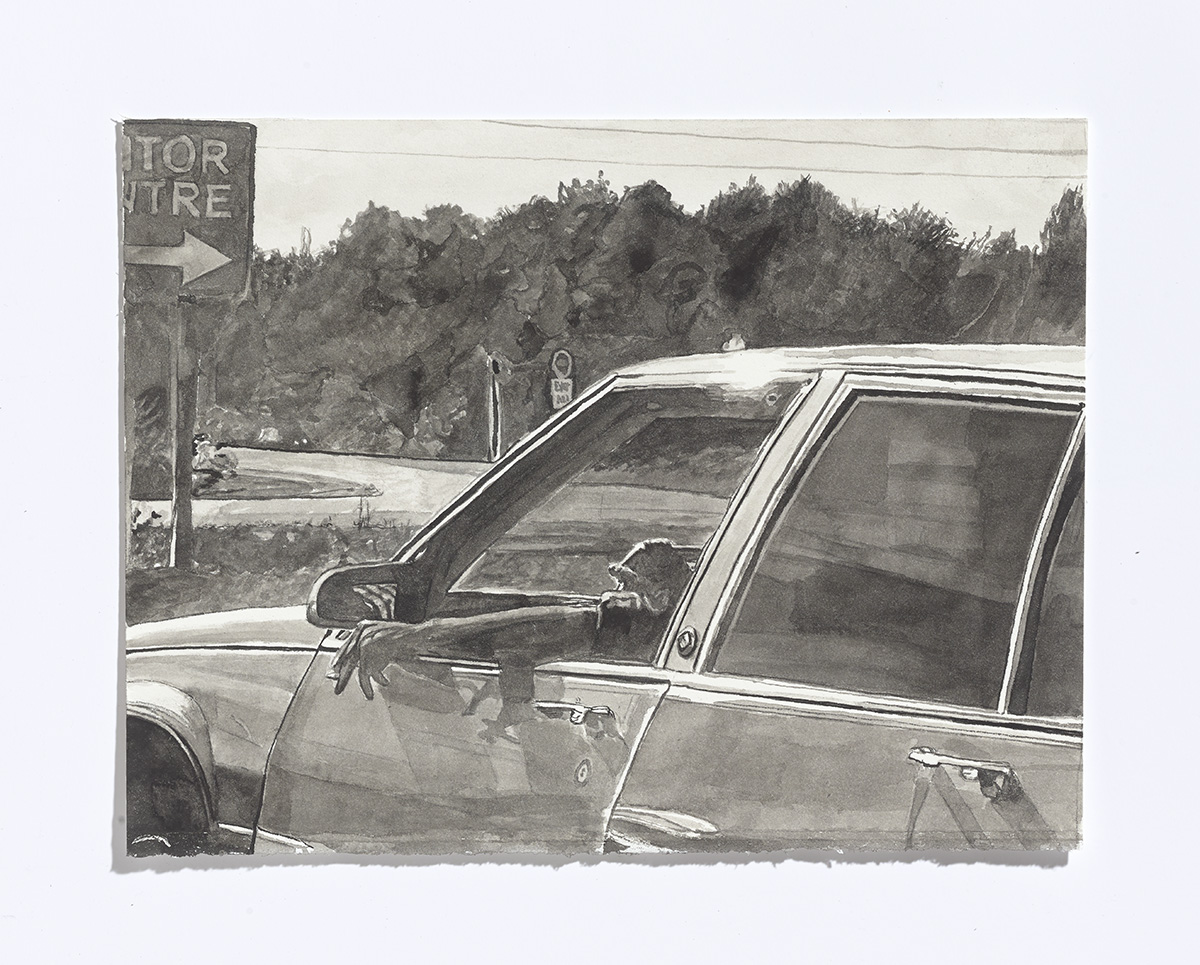 Driving on the 115,2017,india ink on paper, 7.75 x 10 1/8th in