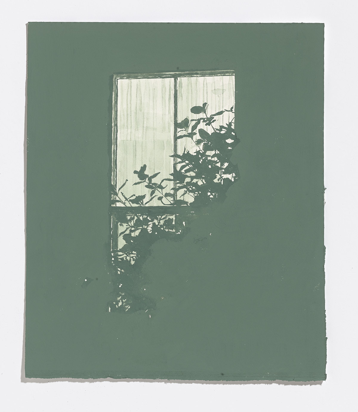 Faded Green Window,2017,gouache on paper,11 3/8th x 9.5 in