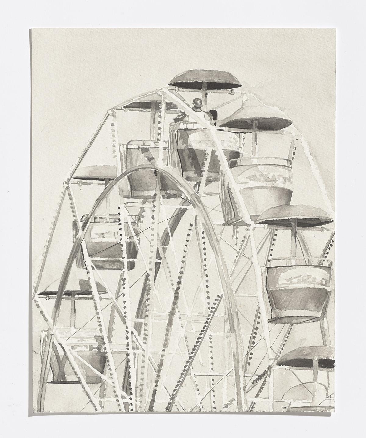 Ferris Wheel,2017,india ink on paper, 1.25 x 8 in