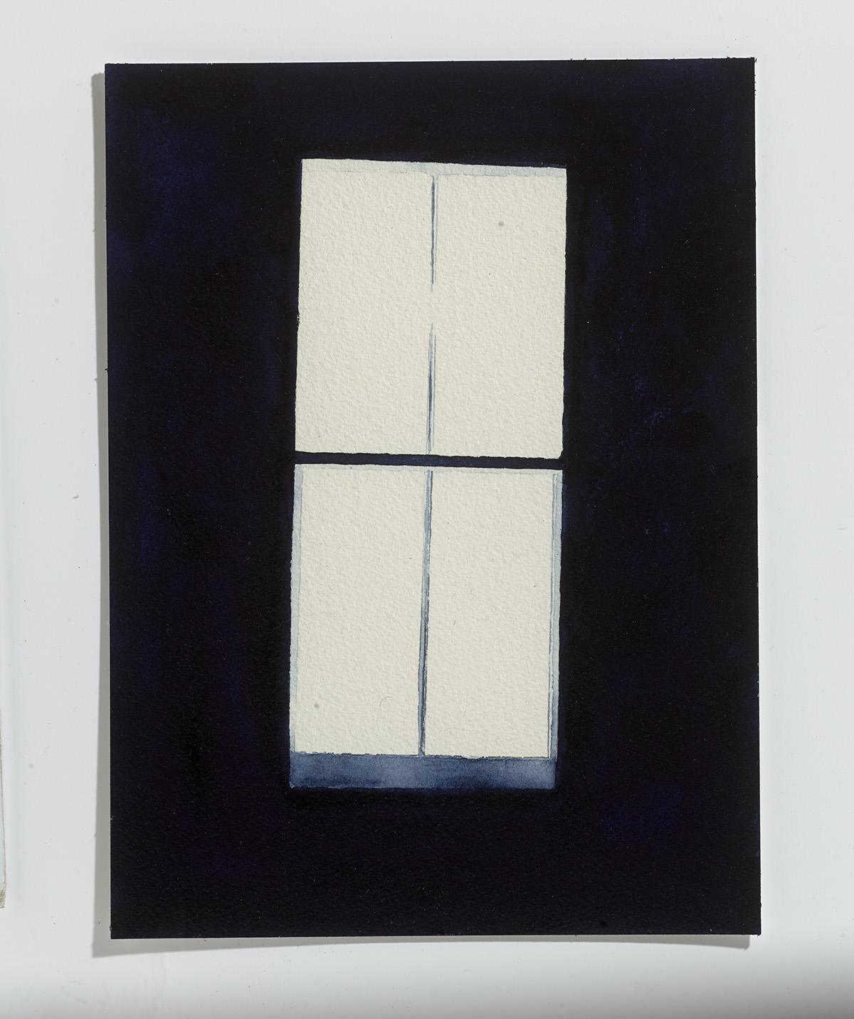 Indigo Window,2017,watercolour on paper, 12.5 x 9 in