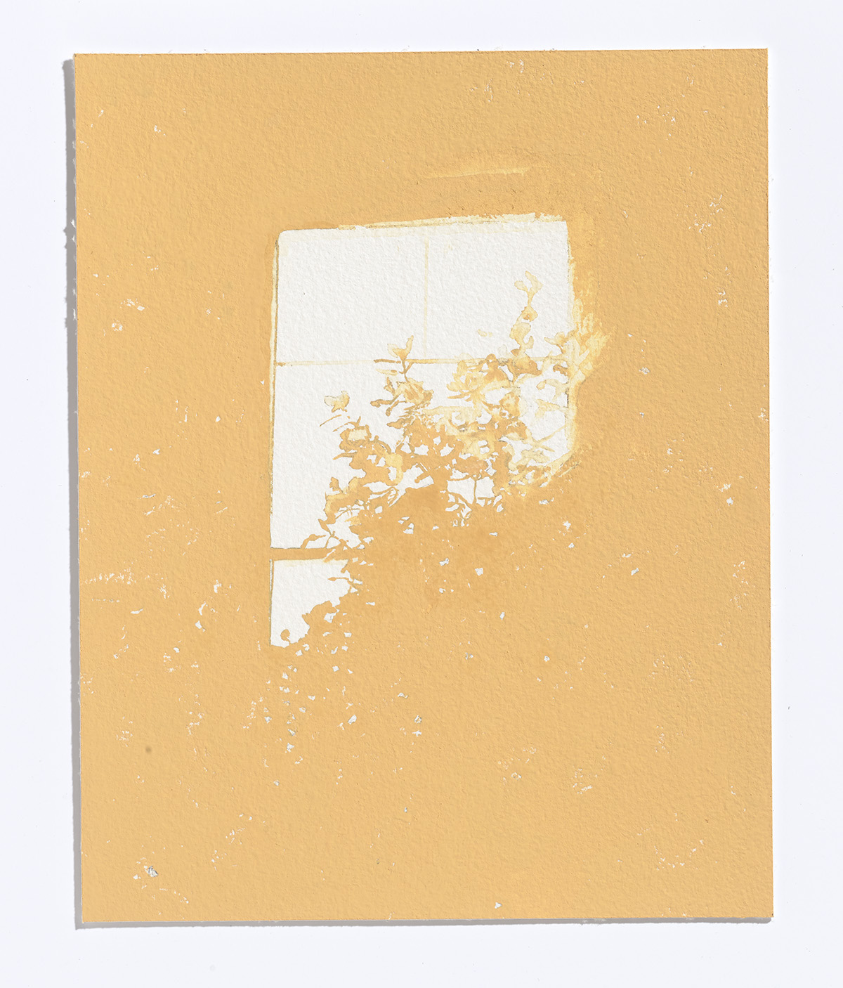 Pale Window,2017, gouache on paper,10 1/8th x 8 in