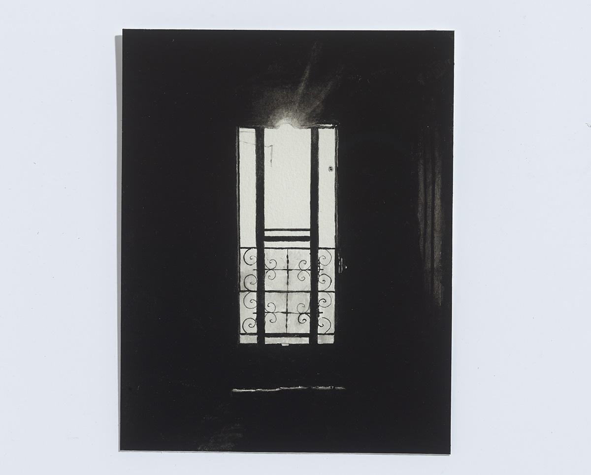 Screen Door,2017,gouache on paper, 9 x 7 in