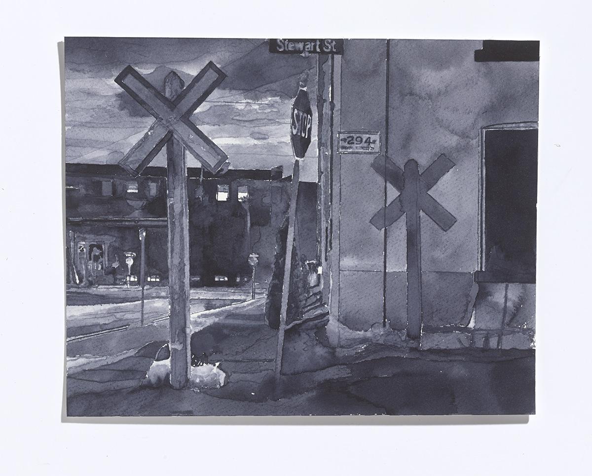 Stewart St. (Shadow),2017,ink on paper,8 x 10 in