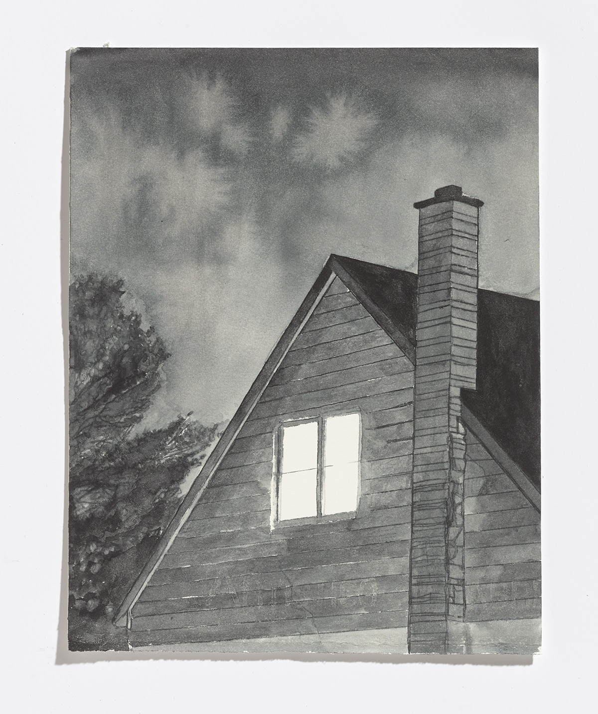 Upstairs window,2017,ink on paper, 10.25 x 8 in