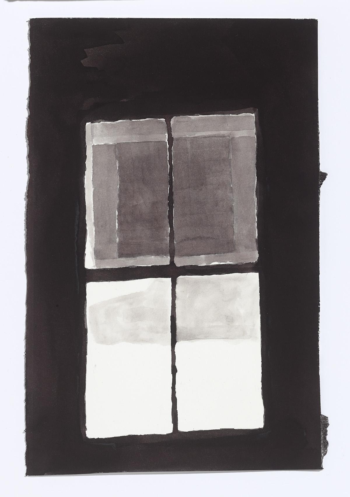 Water Street Window,2017,ink on paper,13 x 8.5 in