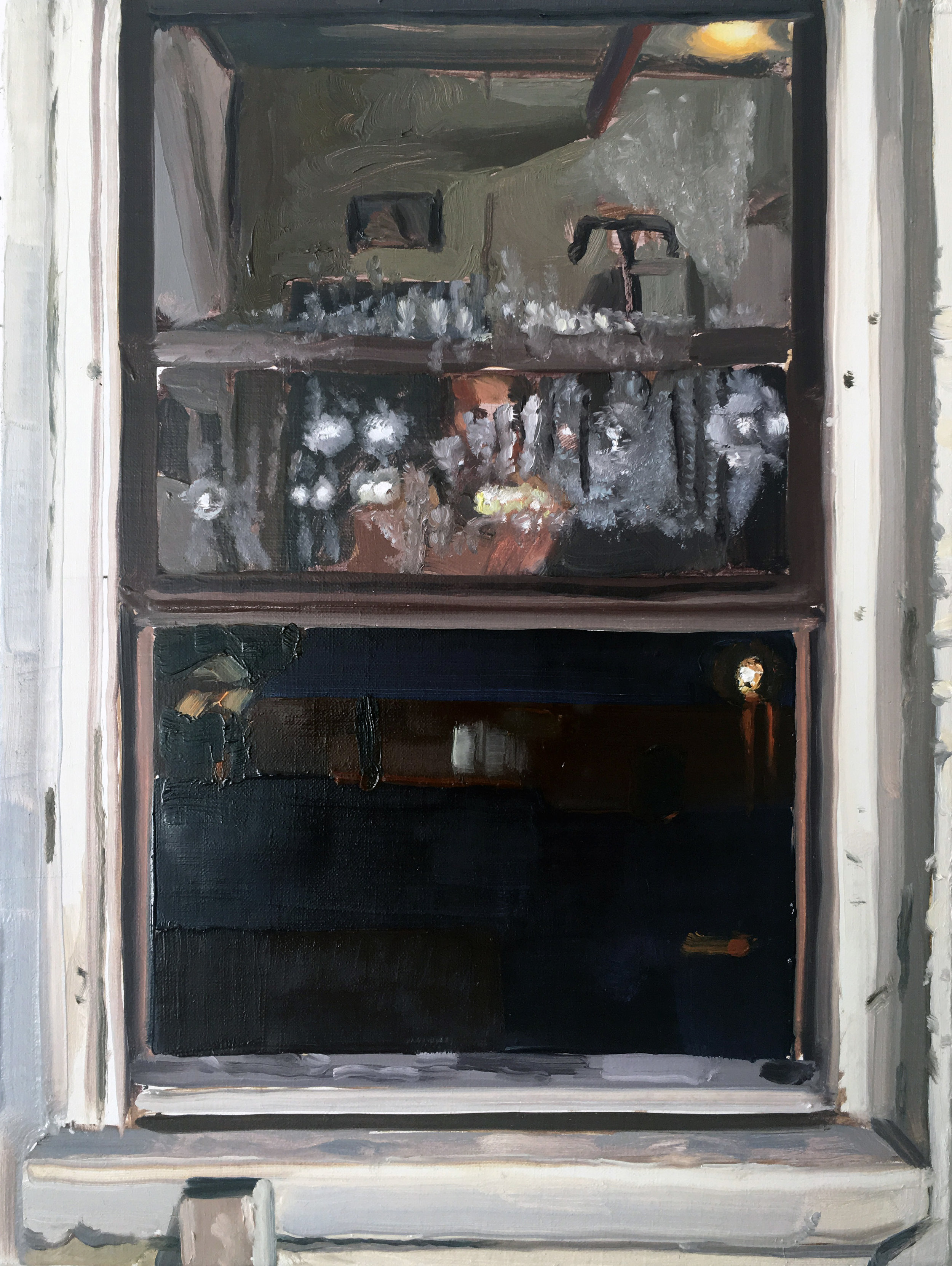 Night Window (8/23), 2017, oil on linen, 12 x 9 inches