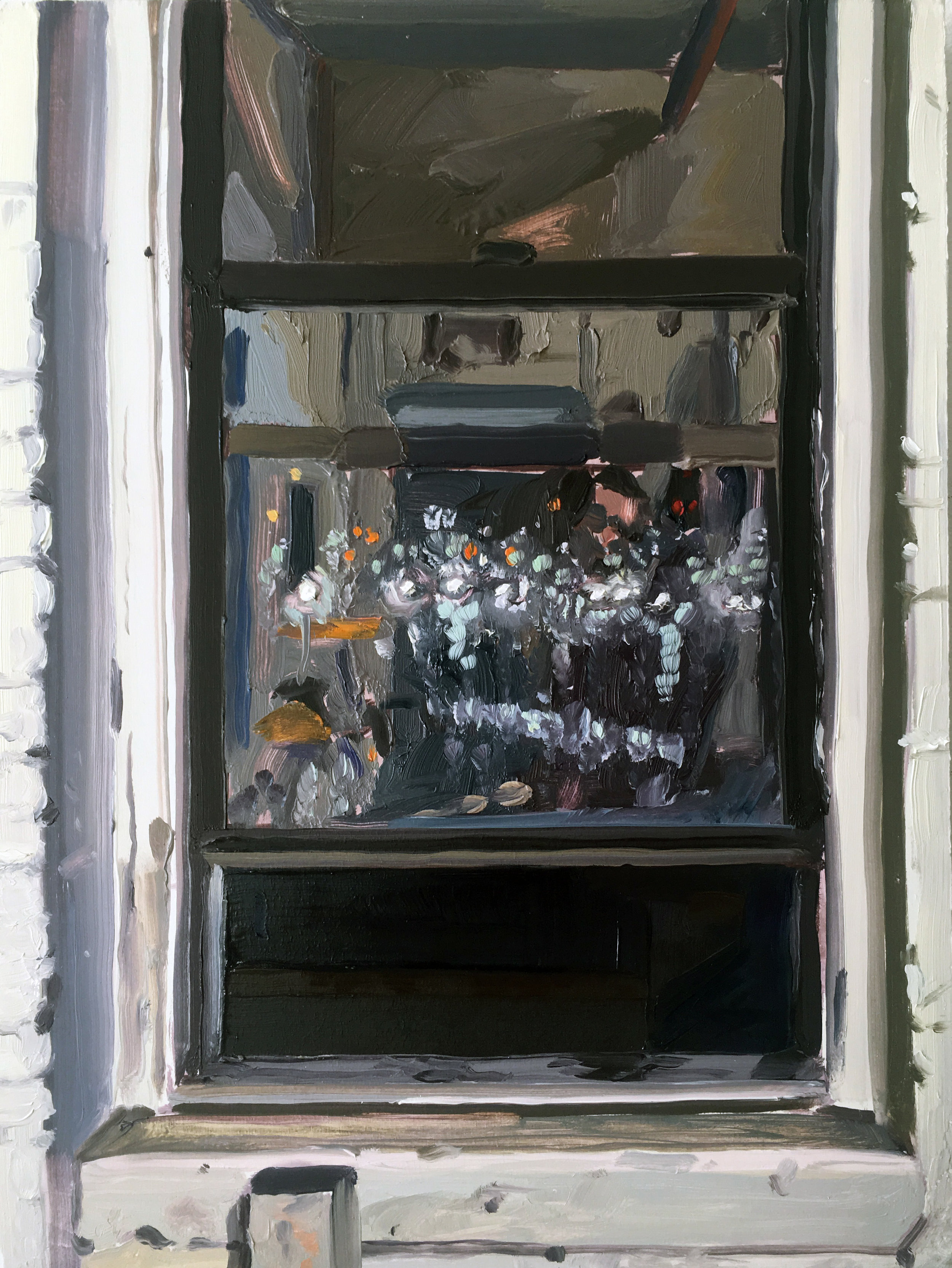 Night Window (8/22 - 8/23), 2017, oil on panel,12 x 9 inches