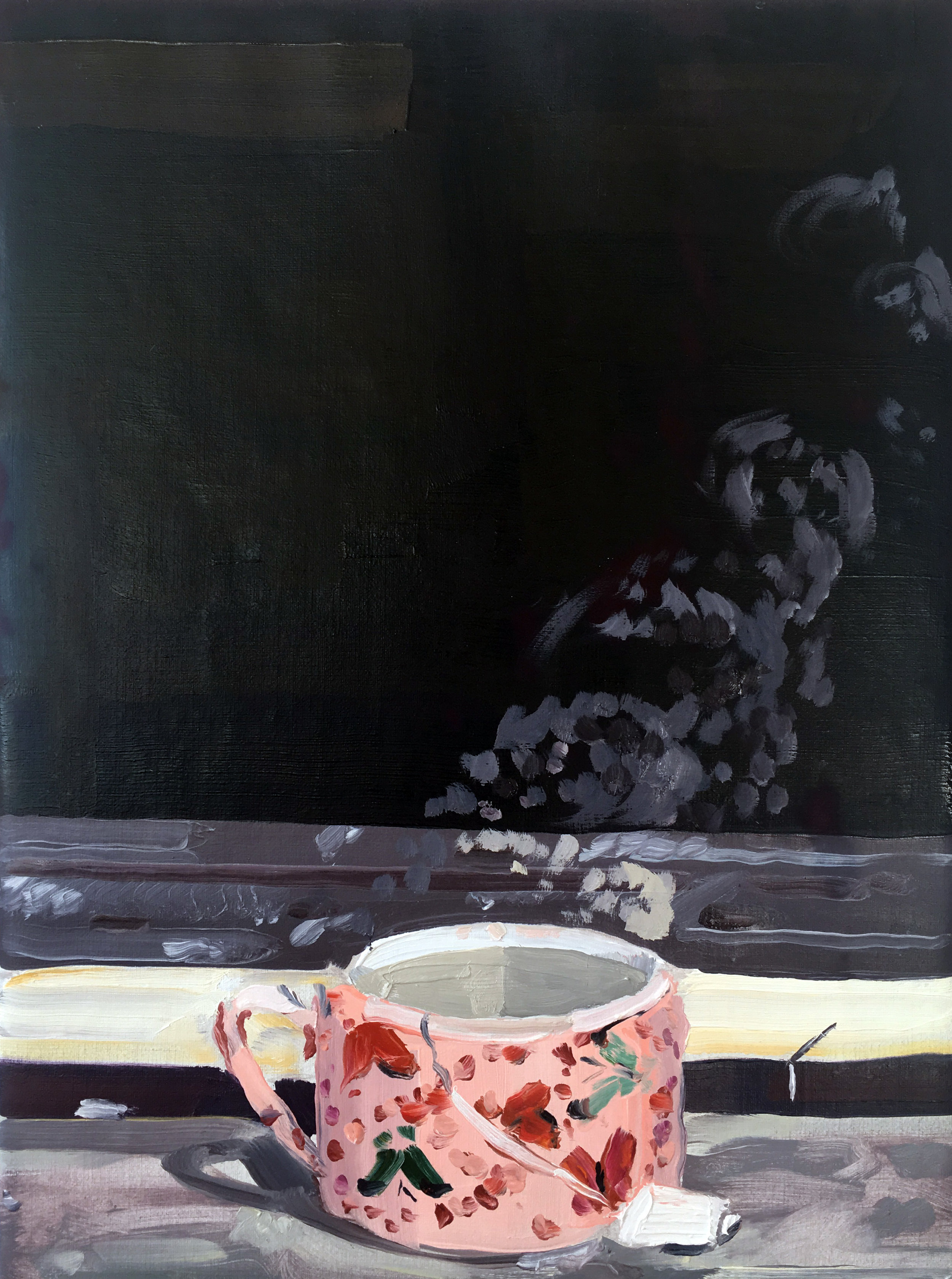 Pink Teacup (7/3-7/4), 2017, oil on linen,12 x 9 inches