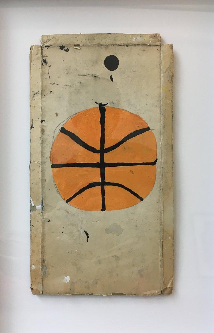 Untitled (Basketball),2017,acrylic on cardboard, 12 x 6.75 in (unframed), 18.5 x 13 in (framed)