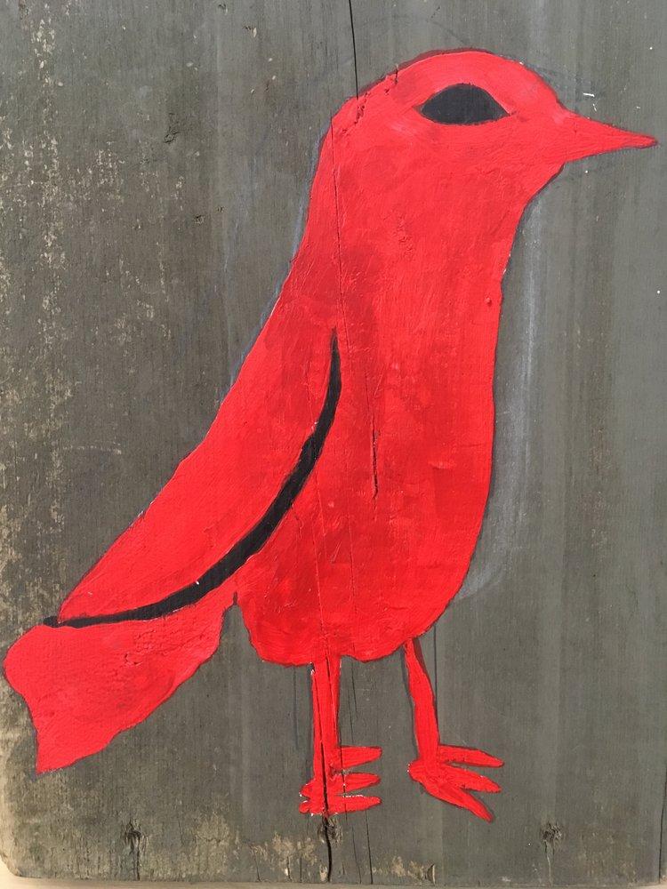 Red Bird,2017, acrylic on wood,12 x 9 in
