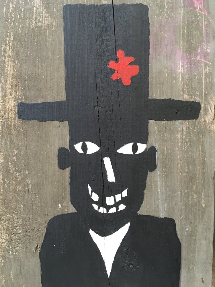 Man With Missing Tooth and Stove Pipe Hat,2017,acrylic on wood,13 x 9 in