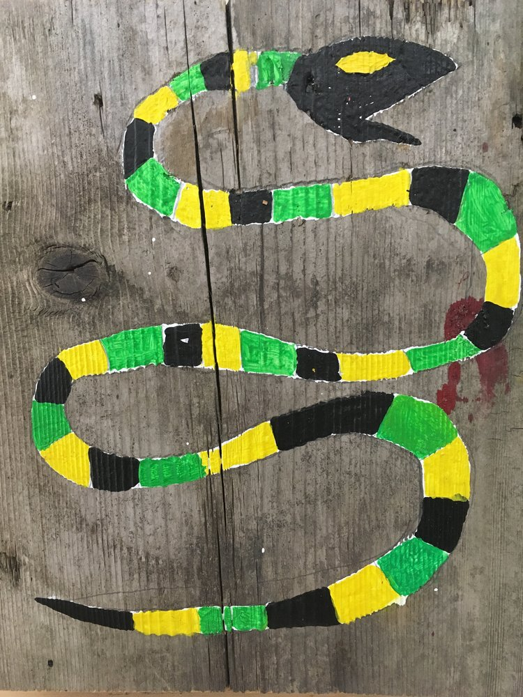 Untitled (Snake),2017,acrylic on wood,10.5 x 9 in