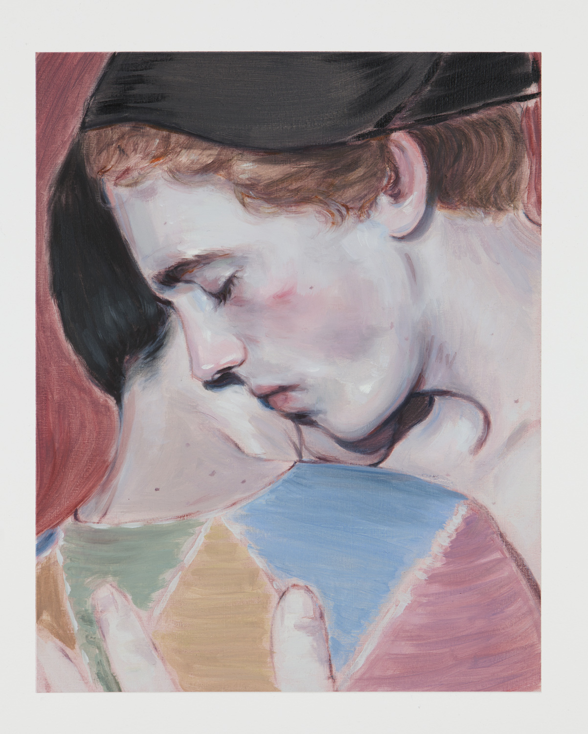 Kris Knight, The Embrace (The End of the Play) , 2017, oil on prepared cotton paper, 14 x 11 inches SOLD