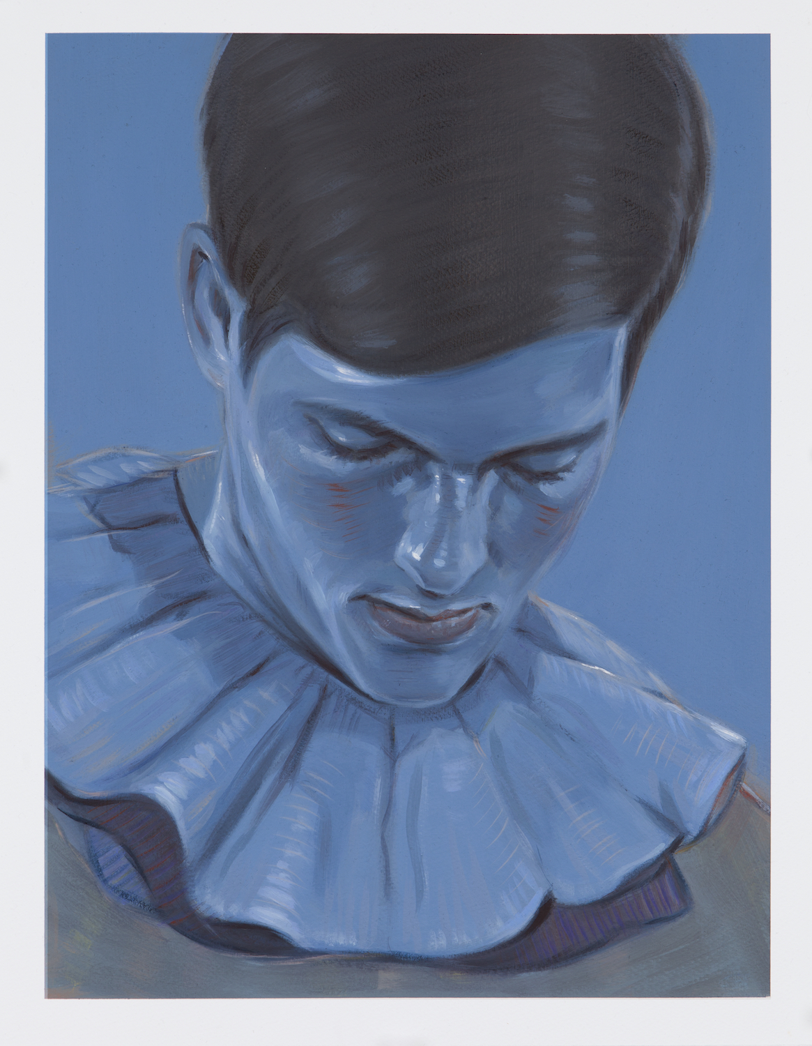 Kris Knight, Blue Light , 2017, oil on prepared cotton paper, 16 x 12 inches SOLD