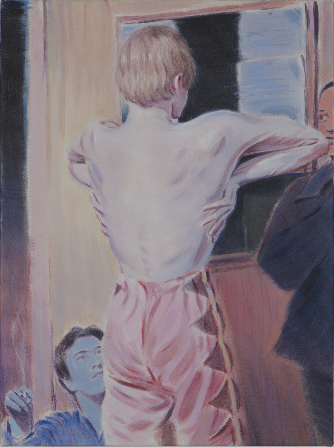 Kris Knight,  Elbow Breathing ( Your Swollen Pride Assumes Respect) , 2017, oil on canvas, 16 x12 inches