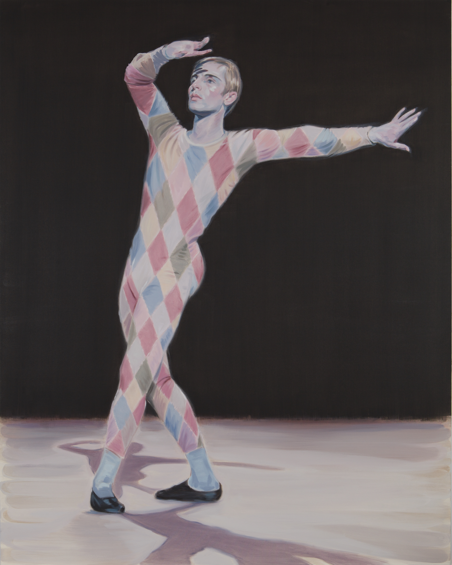 Kris Knight, Erik as Harlequin, 2017, oil on canvas, 84 x 66 inches