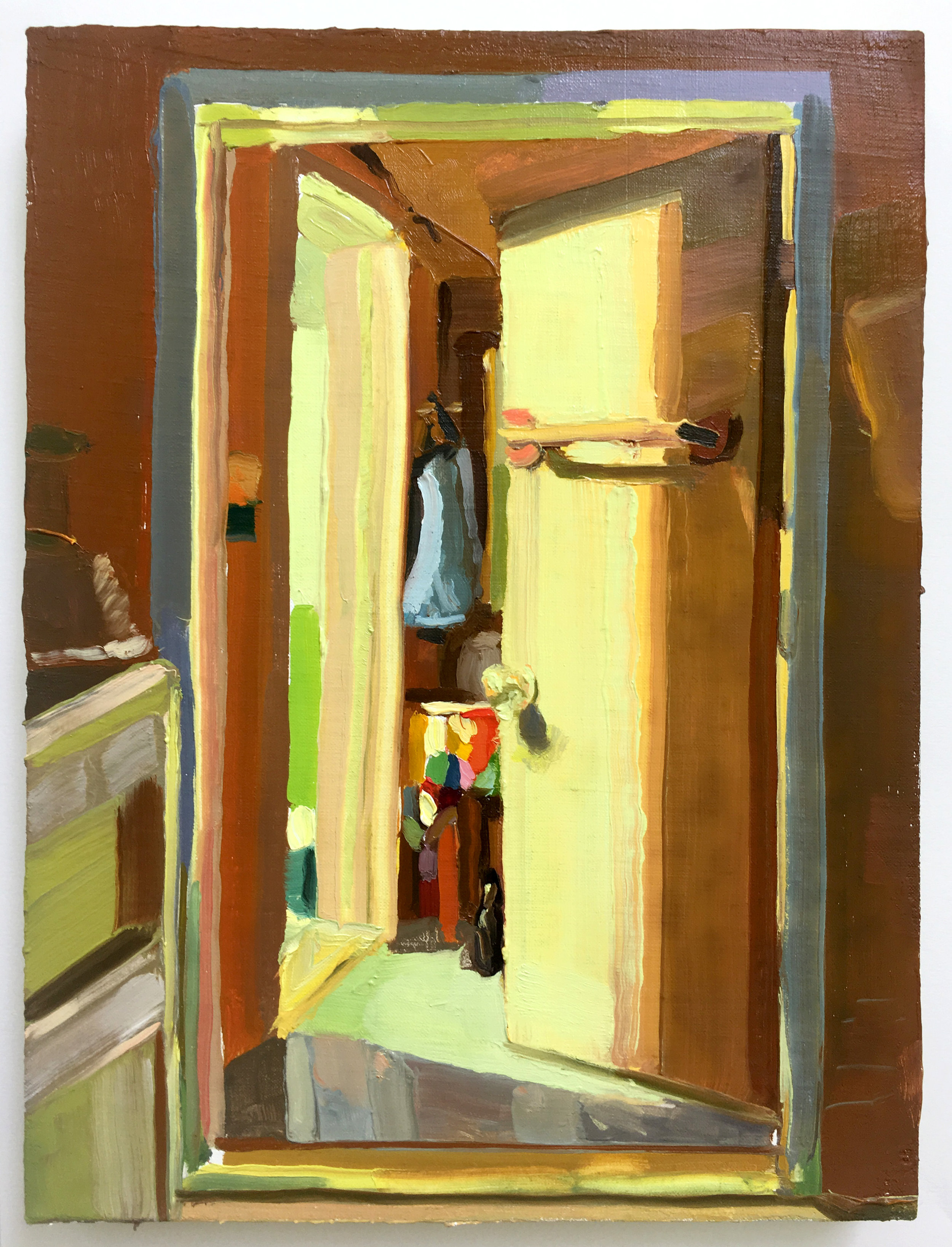 Keiran Brennan Hinton, Bathroom Light, 2017, oil on linen, 12 x 9 inches