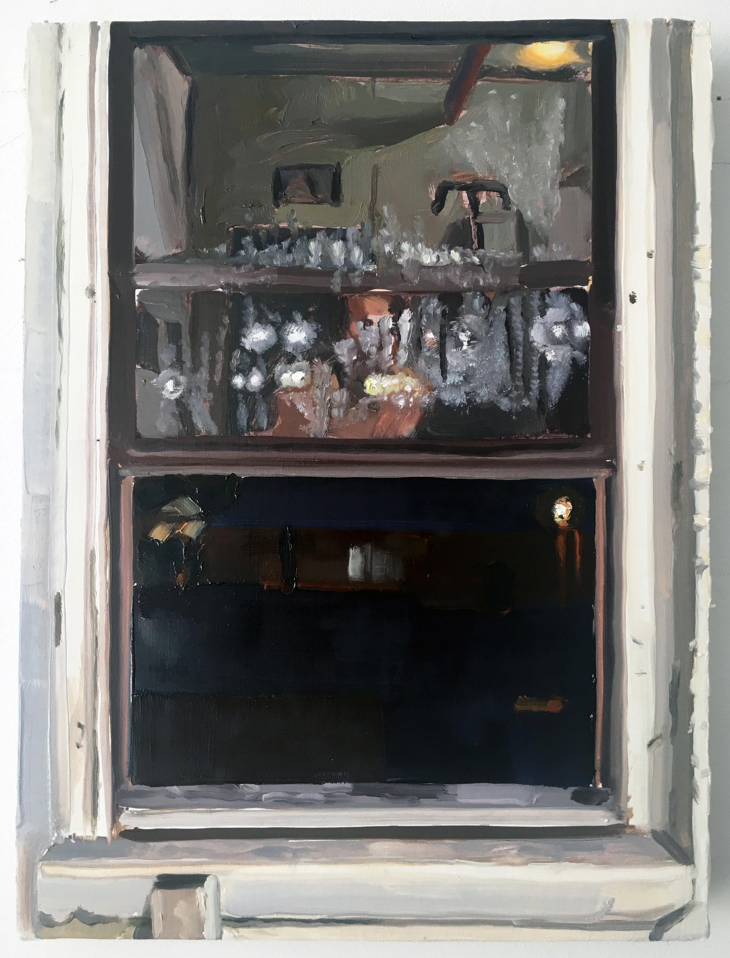 Keiran Brennan Hinton, Night Window 8-23 , 2017, oil on linen, 12 x 9 inches