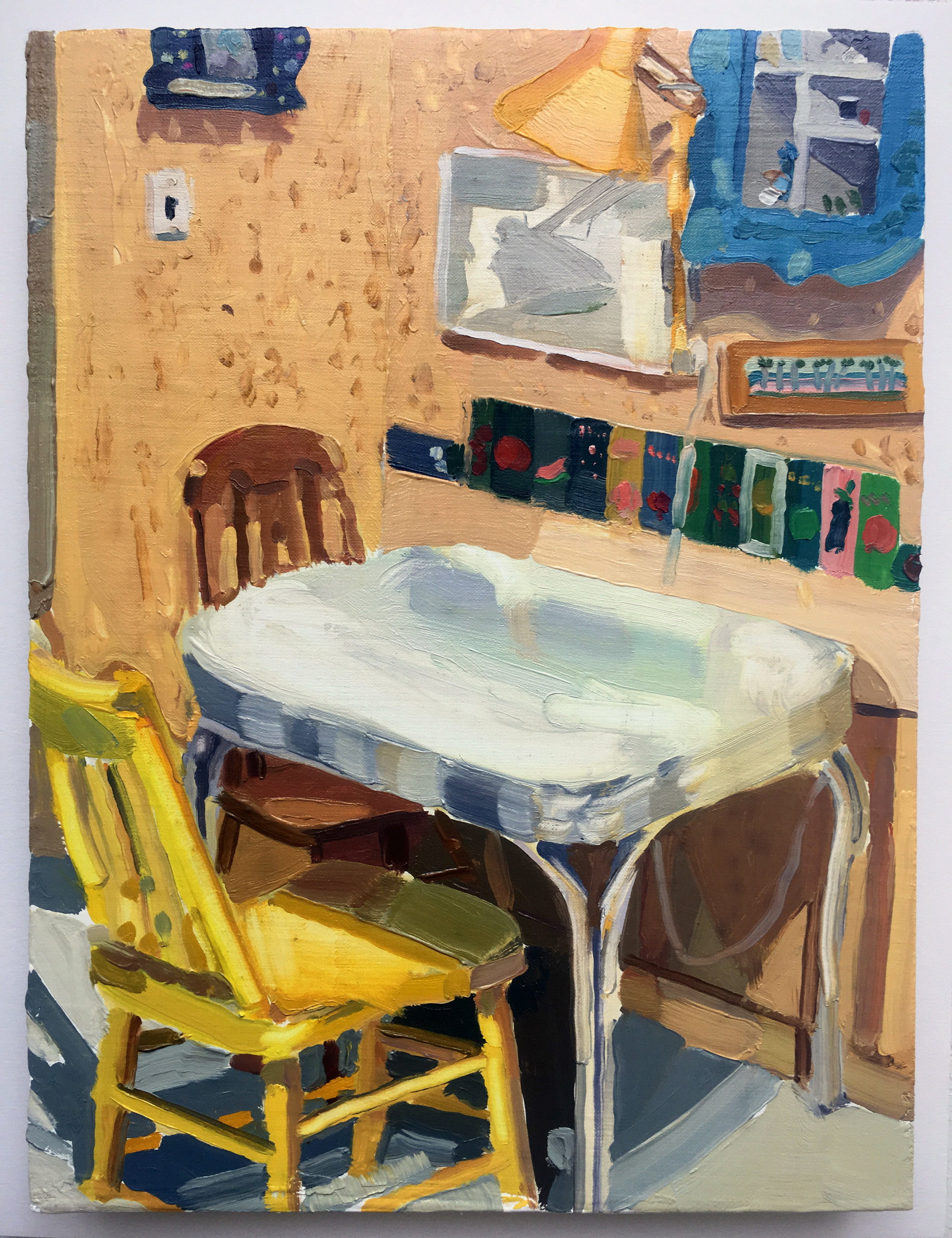 Keiran Brennan Hinton, Kitchen Table , 2017, oil on linen, 12 x 9 inches