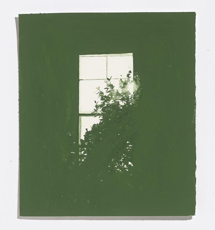 Alex Bierk,Green Window, 2017, watercolour on paper,10.25 x 9 in.