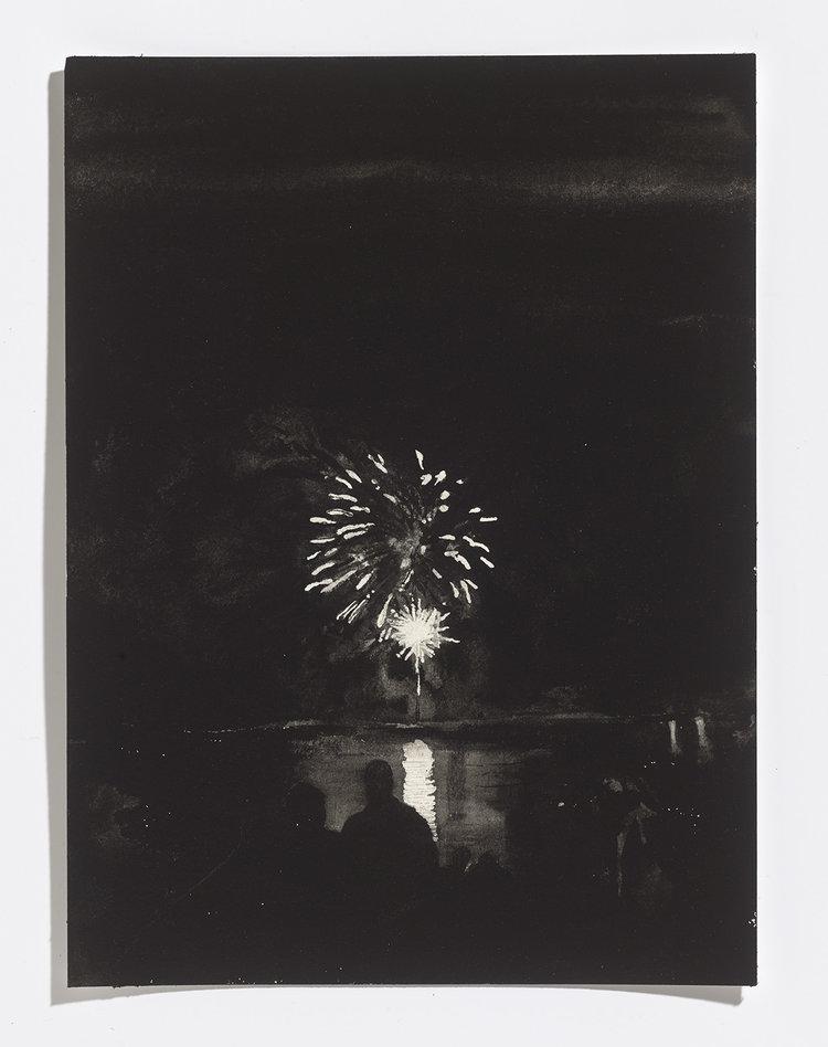 Alex Bierk,Fireworks on Little Lake, 2017, gouache on paper,12.25 x 9 in.