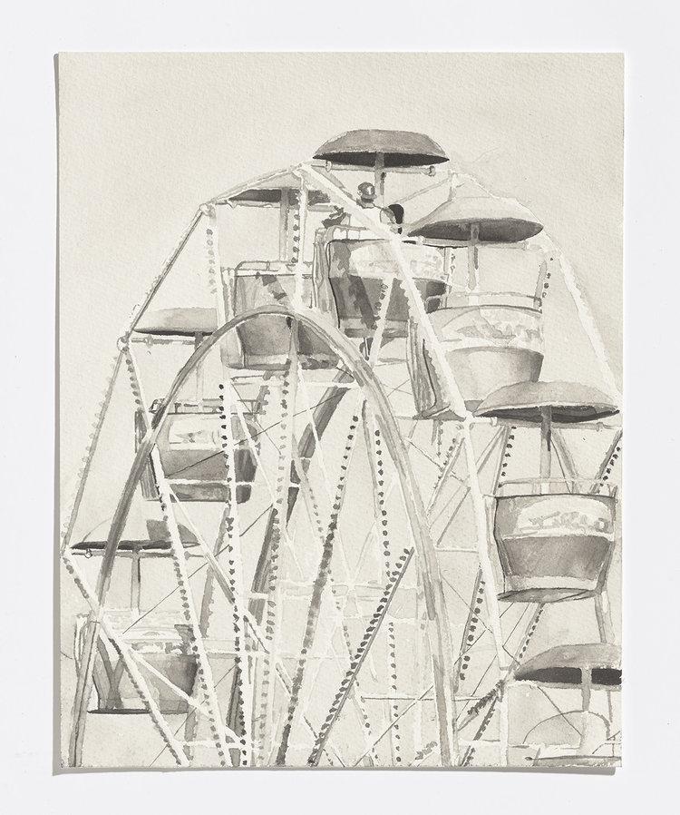 Alex Bierk,Ferris Wheel, 2017, india ink on paper, 11.25 x 8 in.