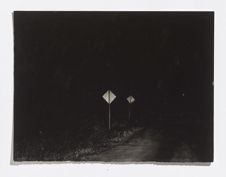 Alex Bierk,Lily Lake Road, 2017, gouache on paper,11 x 14 5/8 in.