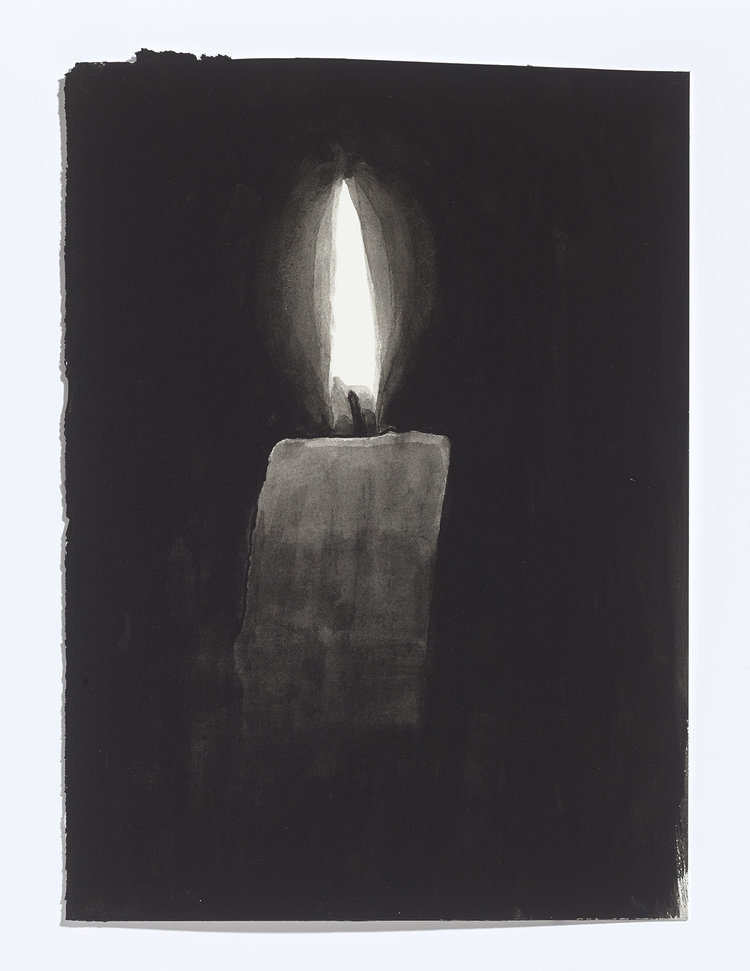 Alex Bierk, Candle, 2017, gouache on paper, 10 7/8th x 8 inches