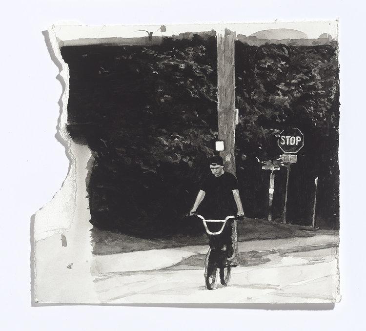 Alex Bierk,On Bethune St., 2017, gouache on paper,9.5 x 10.25 in (approx.)