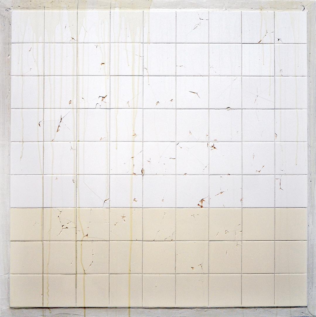 C.J. Chueca,  Body #6 (NY) , 2014, ceramic tiles on wood, 42 x 42 inches