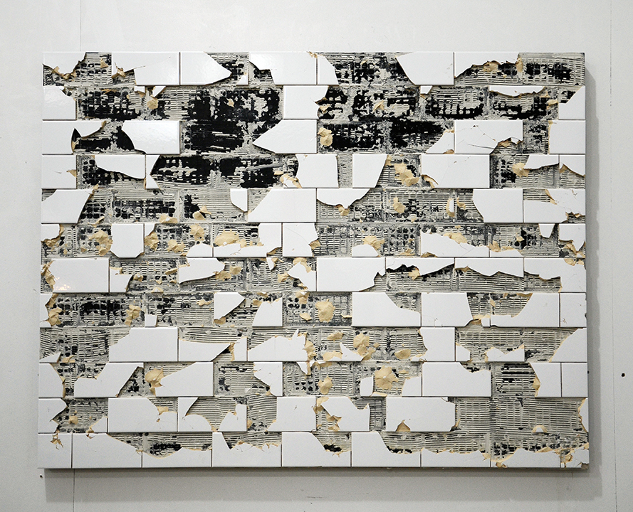 C.J. Chueca,  Body #5,  2015, ceramic tiles and acrylic on wood, 28 x 46 inches
