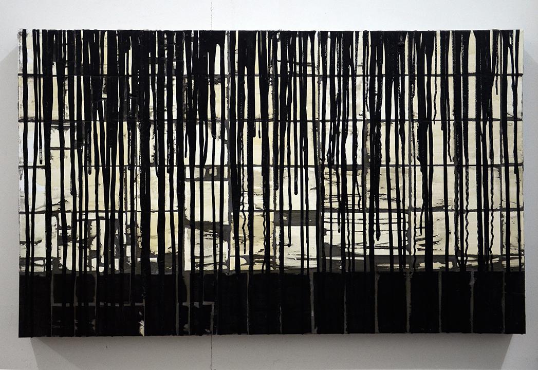 C.J. Chueca,  Body #5 (NY) , 2015, ceramic tiles and acrylic on wood, 28 x 46 inches
