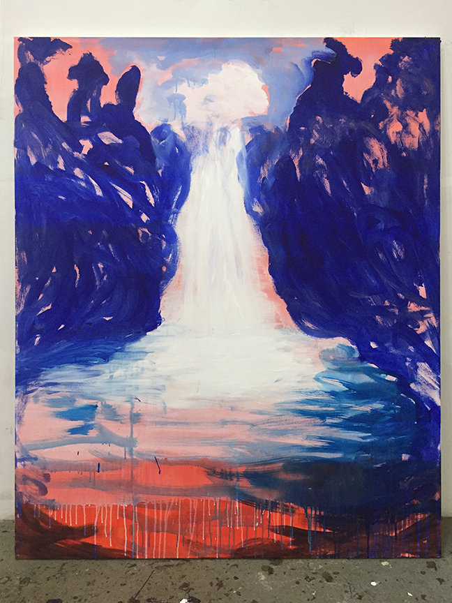 C.J. Chueca,  I am the river behind the wall , 2018, acrylic on canvas, 48 x 60 inches