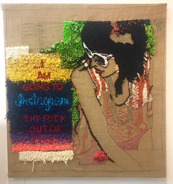 David Kramer,  Analog Feed , 2018, yarn on burlap, 56 x 51 inches