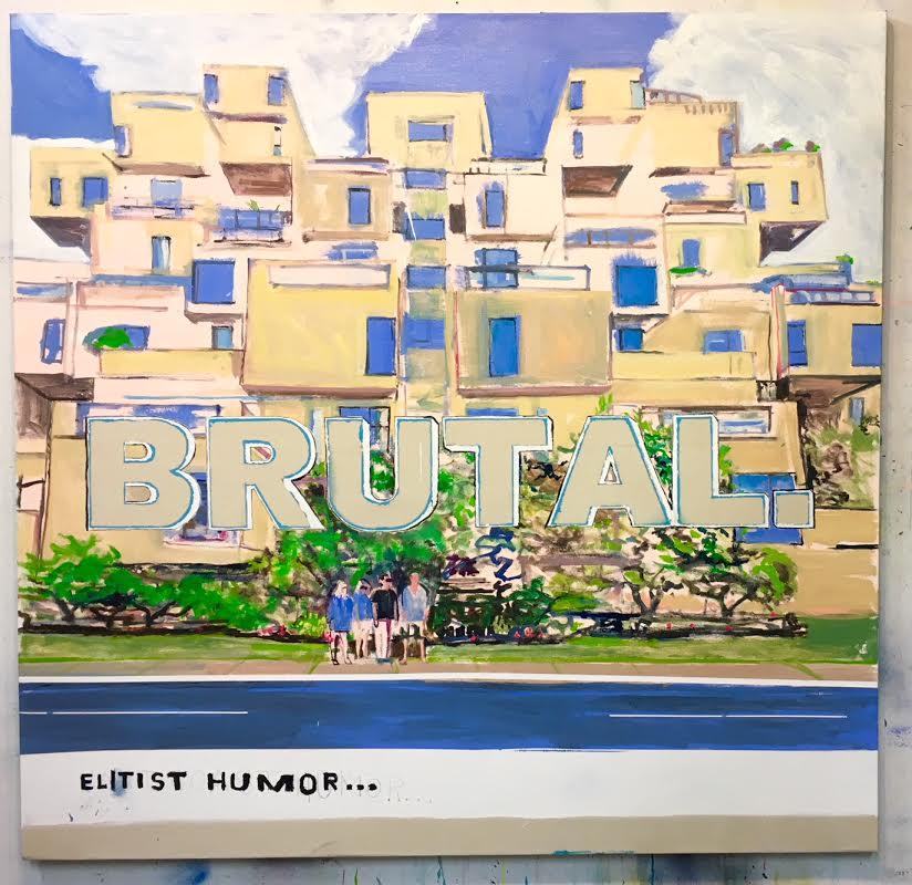 David Kramer,  Elitist Humor,  2017, oil/ enamel/ acrylic/ pencil on canvas, 68 x 70 inches