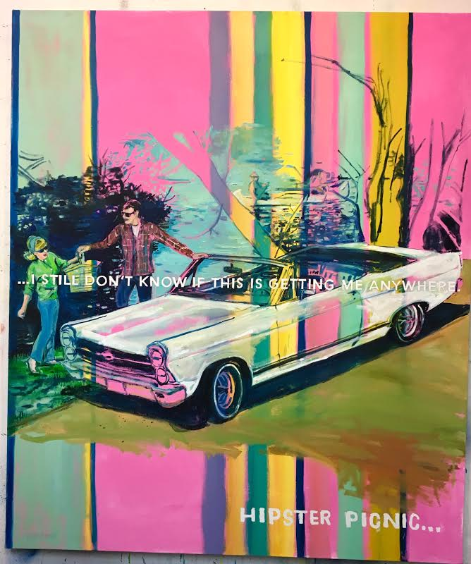 David Kramer,  No Picnic,  2017, oil/ enamel/ acrylic/ pencil on canvas, 70 x 59 inches